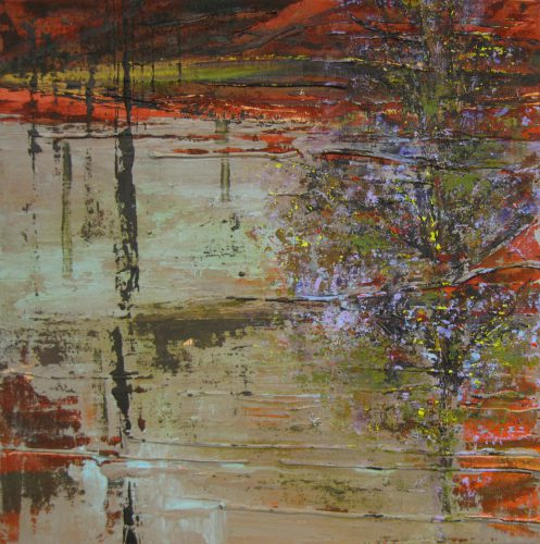 Hier en daar - 50x50 cm - 2011 - acryl op linnen opgespannen