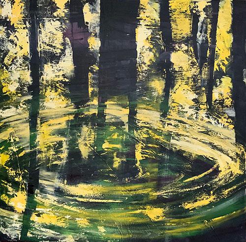 Reflectie, acryl op doek, opgespannen, 110x110 cm, 2019